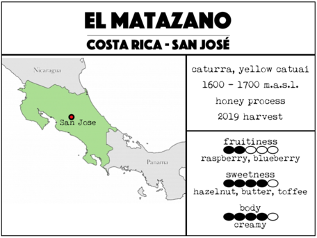 300g El Matazano - Costa Rica. Medium-light roast 24/2 roast special.